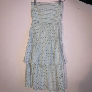 White Polka Dotted Strapless Dress